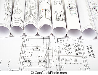 αρχιτεκτονική διάγραμμα , και , κυλιέμαι , από , κυανοτυπία