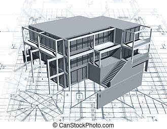 αρχιτεκτονική , μοντέλο , σπίτι , με , blueprint., μικροβιοφορέας