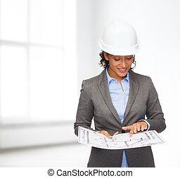 αρχιτεκτονικό σχέδιο, κράνος , άσπρο , επιχειρηματίαs γυναίκα