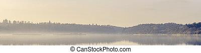 ασαφής , ήλιοs , πάνω , λίμνη , πρωί , πανόραμα , βλέπω