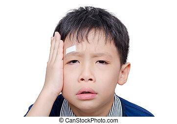 ασβεστοκονίαμα , κεφάλι , αγόρι , καλύπτω , πληγή