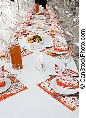 ασημικά , γυαλιά , πριν , πάρτυ , πετσέτες , θέτω , τραπέζι , τροφοδοσία , εστιατόριο