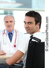 ασθενής , μέσα , αναπηρική καρέκλα