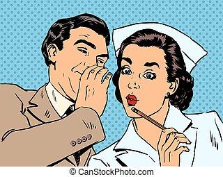 ασθενής , st , συζήτηση , διάγνωση , έκπληξη , κουτσομπολιό...