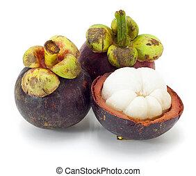 ασιάτης , τροπικός , γαρκινία η μαγκοστάνη , φρούτο , αναμμένος αγαθός , φόντο