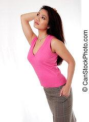 ασιατικός γυναίκα , ροζ , ελκυστικός