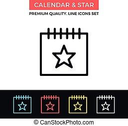 αστέρι , concept., icon., μικροβιοφορέας , λεπτός , ημερολόγιο , γραμμή , γεγονός , βαρυσήμαντος , εικόνα