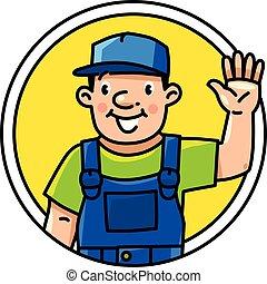 αστείος , έμβλημα , υδραυλικός , worker., repairman , ή , εικόνα