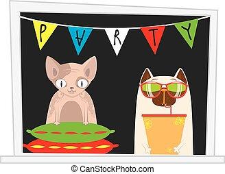 αστείος , γελοιογραφία , αιλουροειδές , άνοιγμα. , πάρτυ