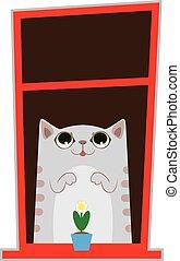 αστείος , γελοιογραφία , γάτα , άνοιγμα. , χαριτωμένος