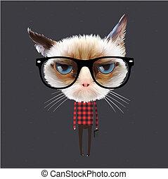 αστείος , γελοιογραφία , γάτα