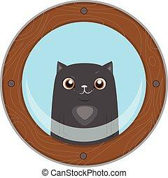 αστείος , γελοιογραφία , μαύρο , άνοιγμα. , γάτα