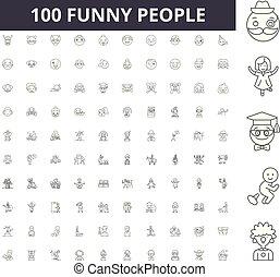 αστείος , γενική ιδέα , περίγραμμα , άνθρωποι , θέτω , απεικόνιση , εικόνα , μικροβιοφορέας , γραμμή , αναχωρώ