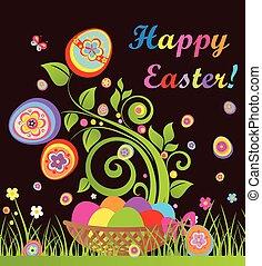αστείος , γραφικός , αυγά , δέντρο , καλαθοσφαίριση , πόσχα , κάρτα