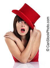 αστείος , γυναίκα , καπέλο , κόκκινο