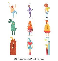 αστείος , διαφορετικός , θέτω , childrens , άνθρωποι , ντύθηκα , ενδυμασία , ενδυμασία , μικροβιοφορέας , γράμμα , διευκρίνιση , πάρτυ , άντραs