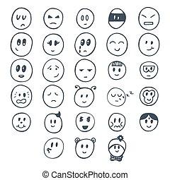 αστείος , διαφορετικός , θέτω , smiley , χέρι , expressions., αντικρύζω , μετοχή του draw
