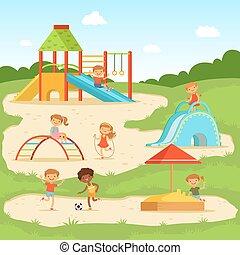 αστείος , μικρόκοσμος , καλοκαίρι , εικόνα , παιδιά , μικροβιοφορέας , playground., παίξιμο , park.