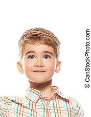 αστείος , μικρό αγόρι , απομονωμένος , φόντο , άσπρο