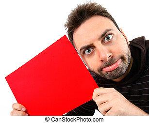 αστείος , νέος , πίνακαs ανακοινώσεων , έκφραση , κόκκινο , άντραs