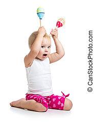 αστείος , παιδί , κορίτσι , παίξιμο , με , μιούζικαλ , toys., απομονωμένος , αναμμένος αγαθός , φόντο