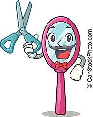 αστείος , σχήμα , κουρέας , γελοιογραφία , καθρέφτηs