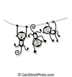 αστείος , σχεδιάζω , μαϊμούδες , δικό σου