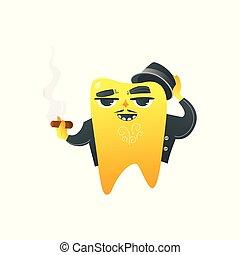αστείος , χρυσαφένιος , παλτό , πούρο , χαρακτήρας , απομονωμένος , δόντι , φόντο. , ενήλικος , κάπνισμα , αγαθός καπέλο
