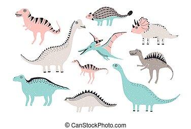 αστείος , illustration., γραφικός , χαριτωμένος , collection., παιδαριώδης , χέρι , δεινόσαυροι , colors., γράμμα , παστέλ , μετοχή του draw