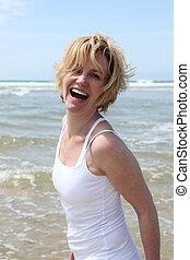 αστείο , γυναίκα , παραλία , έχει , ξανθή