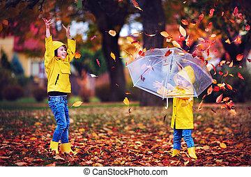 αστείο , πάρκο , ρίψη , βροχή , έχει , ερεθισμένος , φύλλα , φθινόπωρο , κουραστικός , μικρόκοσμος , ευτυχισμένος , ντύνω , μπότεs