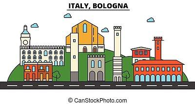 αστικός δρόμος , θέτω , πανόραμα , κτίρια , ιταλία , αρχιτεκτονική , strokes., landmarks., απομονωμένος , σχεδιάζω , πόλη , τοπίο , απεικόνιση , concept., bologna., περίγραμμα , διαμέρισμα , editable, εικόνα , γραμμή , γραμμή ορίζοντα , μικροβιοφορέας