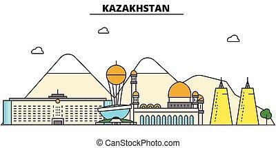 αστικός δρόμος , πόλη , θέτω , καζακστάν , πανόραμα , κτίρια , απομονωμένος , αρχιτεκτονική , strokes., editable, landmarks., διαμέρισμα , περίγραμμα , γραμμή ορίζοντα , τοπίο , σχεδιάζω , εικόνα , απεικόνιση , γραμμή , μικροβιοφορέας , concept.