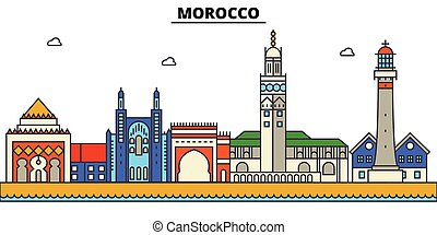 αστικός δρόμος , πόλη , θέτω , μαρόκο , πανόραμα , κτίρια , απομονωμένος , αρχιτεκτονική , strokes., editable, landmarks., διαμέρισμα , περίγραμμα , γραμμή ορίζοντα , τοπίο , σχεδιάζω , εικόνα , απεικόνιση , γραμμή , μικροβιοφορέας , concept.