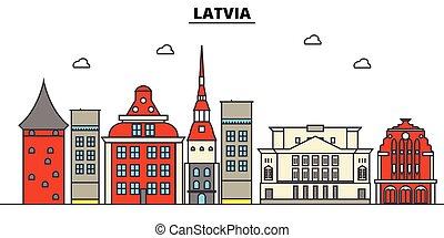 αστικός δρόμος , πόλη , θέτω , πανόραμα , κτίρια , απομονωμένος , αρχιτεκτονική , strokes., editable, landmarks., διαμέρισμα , περίγραμμα , γραμμή ορίζοντα , τοπίο , σχεδιάζω , εικόνα , απεικόνιση , γραμμή , μικροβιοφορέας , concept., λατβία