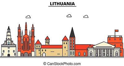 αστικός δρόμος , πόλη , θέτω , πανόραμα , κτίρια , περίγραμμα , λιθουανία , αρχιτεκτονική , strokes., editable, landmarks., διαμέρισμα , απομονωμένος , γραμμή ορίζοντα , τοπίο , σχεδιάζω , εικόνα , απεικόνιση , γραμμή , μικροβιοφορέας , concept.