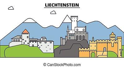 αστικός δρόμος , πόλη , τοπίο , πανόραμα , κτίρια , landmarks., concept., strokes., editable, απομονωμένος , διαμέρισμα , περίγραμμα , απεικόνιση , θέτω , μικροβιοφορέας , εικόνα , liechtenstein., σχεδιάζω , γραμμή , γραμμή ορίζοντα , αρχιτεκτονική