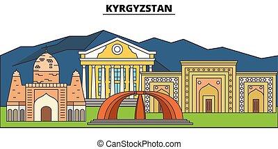 αστικός δρόμος , πόλη , kyrgyzstan., τοπίο , πανόραμα , κτίρια , landmarks., concept., strokes., editable, απομονωμένος , διαμέρισμα , περίγραμμα , μικροβιοφορέας , σχεδιάζω , εικόνα , απεικόνιση , γραμμή , γραμμή ορίζοντα , αρχιτεκτονική