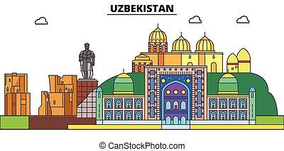 αστικός δρόμος , πόλη , uzbekistan., τοπίο , πανόραμα , κτίρια , landmarks., αρχιτεκτονική , strokes., editable, απομονωμένος , διαμέρισμα , περίγραμμα , μικροβιοφορέας , σχεδιάζω , εικόνα , απεικόνιση , γραμμή , γραμμή ορίζοντα , concept.