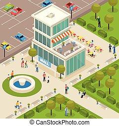 αστικός , isometric , αρχιτεκτονική , έκθεση