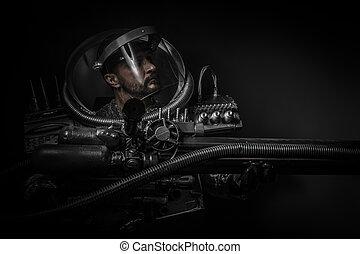 αστροναύτης , φαντασία , πολεμιστής , με , πελώρια , απειροστική έκταση όπλο