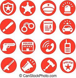 αστυνομία , απεικόνιση , θέτω , κουμπιά , μικροβιοφορέας , κόκκινο