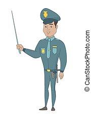 αστυνομικόs , νέος , ισπανικός , κράτημα , stick., δείκτης