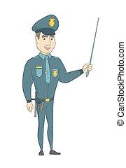 αστυνομικόs , νέος , κράτημα , stick., δείκτης , καυκάσιος