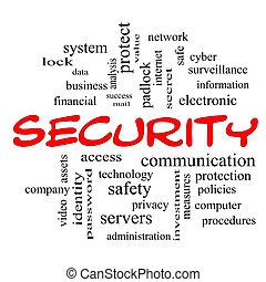 ασφάλεια , λέξη , σύνεφο , γενική ιδέα , μέσα , κόκκινο , καλύπτω