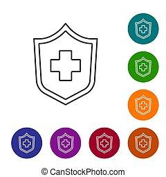 ασφάλεια μπογιά , ασφάλεια , ασφάλεια , απομονωμένος , προστατεύω , υγεία , φόντο. , προστασία , ασθενής , μικροβιοφορέας , protection., κύκλοs , γραμμή , άσπρο , εικόνα , buttons., concept., θέτω , απεικόνιση , μαύρο