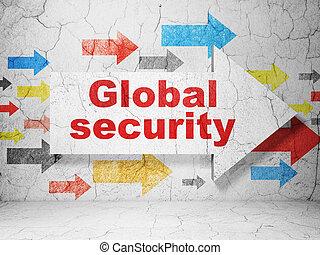 ασφάλεια , concept:, φόντο , ασφάλεια , καθολικός , grunge , τοίχοs , βέλος