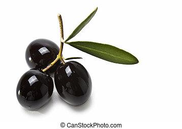 ασφάλιστρο , μαύρο , τρία , olives.