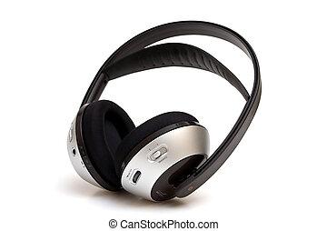 ασύρματος , άσπρο , απομονωμένος , ακουστικά κεφαλής