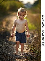 ατάραχα , μικρός , contry, ατραπός , αγόρι , πορτραίτο